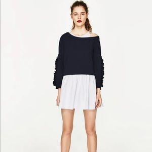 Zara Poplin Dress with Ruffled Sleeves NWOT